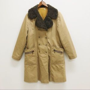 Vintage 60s 70s shearling jacket trench coat